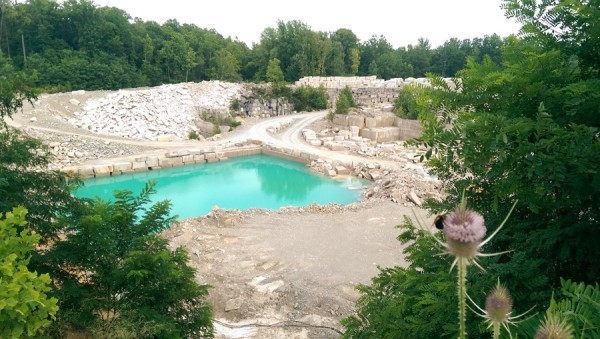 A commercial limestone quarry operates today near Big Creek in Stinesville, Indiana, not far from where Richard Gilbert opened the state's first quarry in 1827.