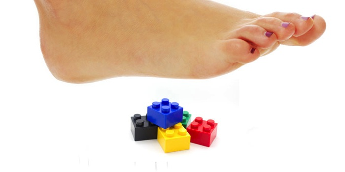 foot step on Lego