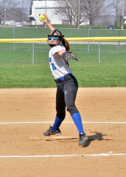 Courtney Jennings rifles in a pitch for the Lady Trojans.