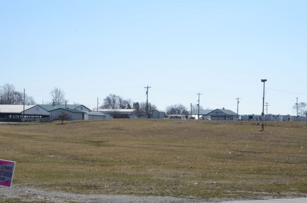 The hilly and grassy parking lot at the Kosciusko County Fairgrounds.