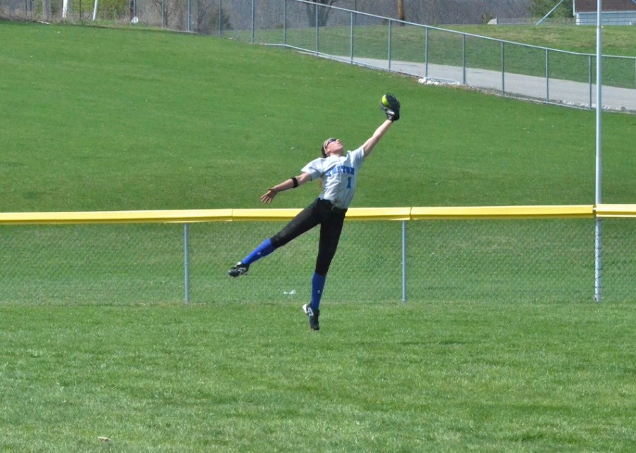 Triton's Taytum Hargrave was excellent in center field in Saturday's 5-4 loss at Wawasee. (Photos by Nick Goralczyk)