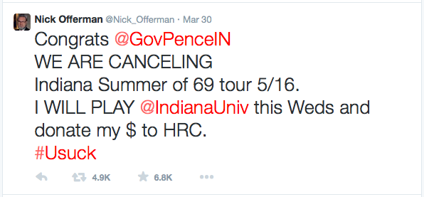 nick offerman indy cancellation tweet