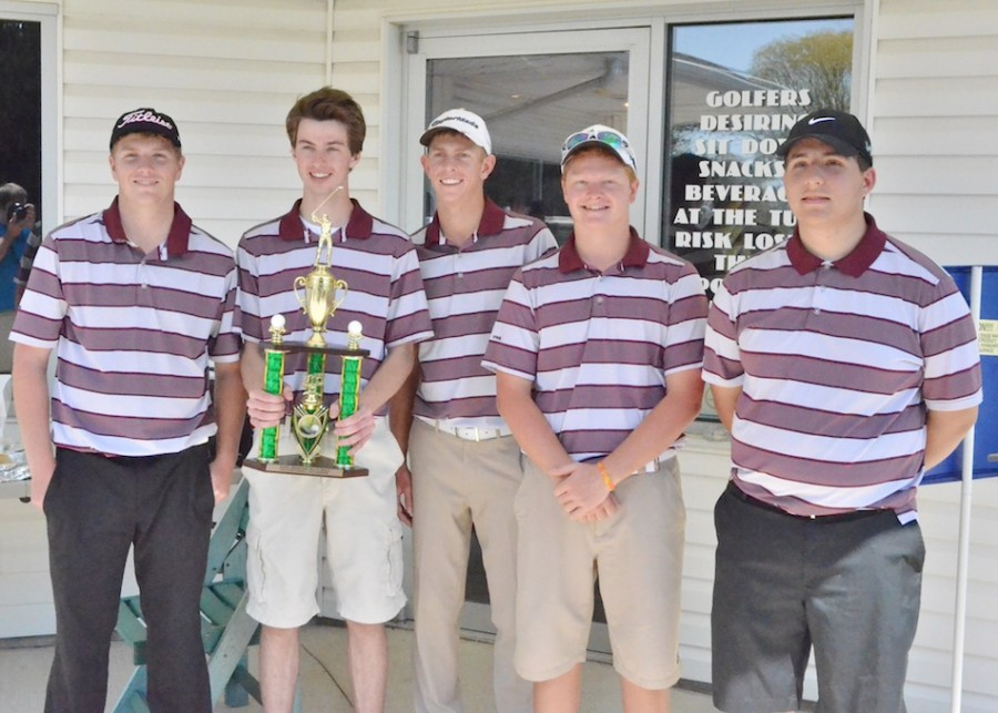 Pictured with the first place trophy from Columbia City are, from left to right, Tyler Green, Max Dryer, Spencer Klimek, Cameron Slavich and Spencer McCammon. (Photos by Nick Goralczyk)