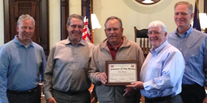Pictured from left, Rich Maron, Ron Truex, Veteran of the Month D.J. Harris, Bob Conley and Brad Jackson.