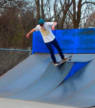 Bryant Raney drives from Goshen to Syracuse Skate Park to experience a variety of ramp designs and materials.