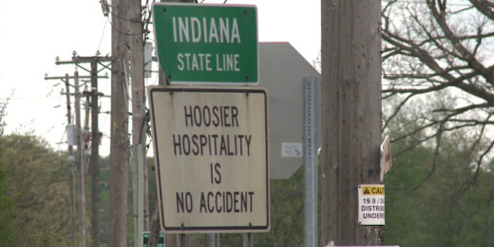 Indiana state line sign