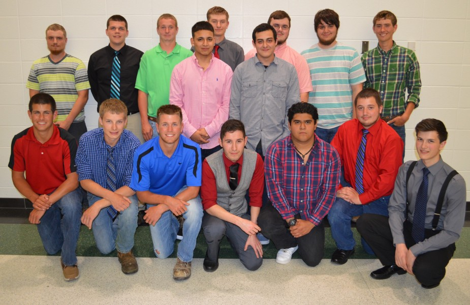 Building trades students for Wawasee High School for the 2014-15 school year include in front, from left, Nick Anderson, Chase Jacobs, Drew Anderson, Lorenzo Aguinaga, Francisco Ramirez, Andrew Zartman and Jonas Schwartz. In the middle row are Daniel Pedroza and Jorge Castro. And in the back row are Michael Turner, Austin Burkholder, Kyle Smiley, Michael McCulloch, Carter Whitmer, Brady Shepherd and Bailey Hershberger. Unable to attend the banquet and not pictured are Jeffrey Moore, Aaron Walker and Maclain Herr.