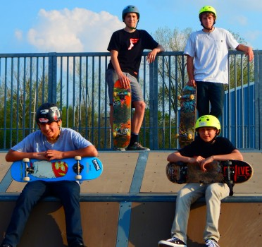 Self proclaimed park pros take a break for the camera at Mantis Sake Park, Warsaw. From left are Nicolas Lariou-Hernandez and Alec Gayney. Standing are Alex Hernandez and Logan Vector.