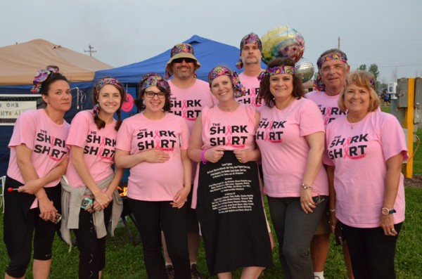 Lori Mawly, Casey Shirk, Westley Raver, Kelly McCammack, Jayson McCammack, Angie Shirk, Stan Pequignot, Sherry Pequignot and Dave VanDyke show support for those fighting cancer and for those who have lost their fight.