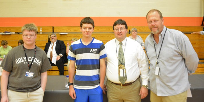 Winners of the perfect attendance award Adrian Hartle and Kyle Christianberry.  (Photos by John Faulkner)