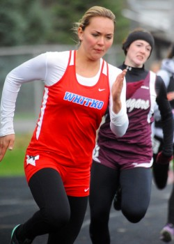 Whitko's Kaitlyn Reed won the long jump, high jump, and helped Whitko to a top three relay at the Goshen Relays Saturday. (File photos by Mike Deak)