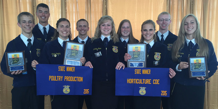 Wawasee FFA members attending the state FFA Convention at Purdue. Awards were won in Horticulture Judging CDE, Dairy Evaluation and Soils Evaluation. Shelby Swartz was also the state winner in her Poultry Production Proficiency, Shown in front are Kevin Schlipf, Shelby Swartz, Ashley Beer, Molly Swartz, and Sarah Harden. In back are Mason Germonprez, Colin Beer, Christy Carson, Austin Beer. (Photo provided)