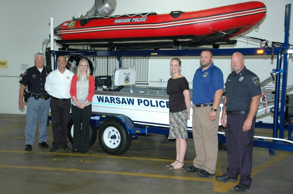 (From left) Joe Hawn, WPD Dive Team Commander; Rich Haddad, K21 Health Foundation;  Amy Cannon, KCCF and KREMC Operation Round Up; Stephanie Overbey, KCCF; R.J. Nethaway, WPD Dive Team Asst. Commander; Scott Whitaker, WPD Chief of Police.  (Photo provided)