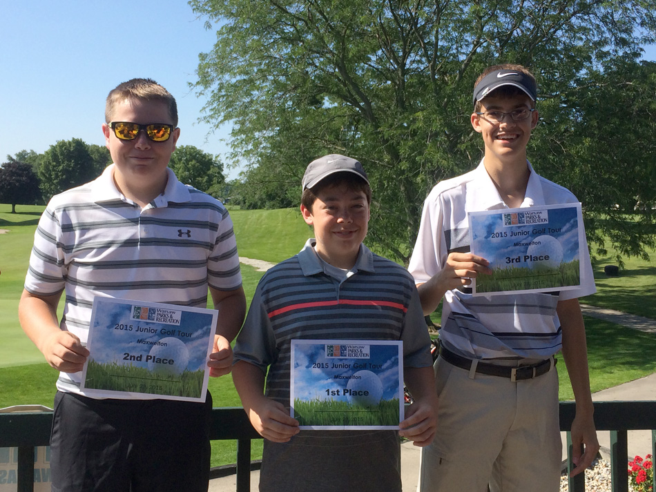 Finishing in the top three of the Junior Tour were, from left, Dillon Drake, second place; Brock Bonde, first place; and Lucas Rhodes, third place. (Photos provided)