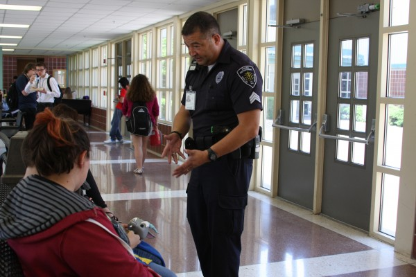 Officer Morales speaks with students.  (Photos provided)