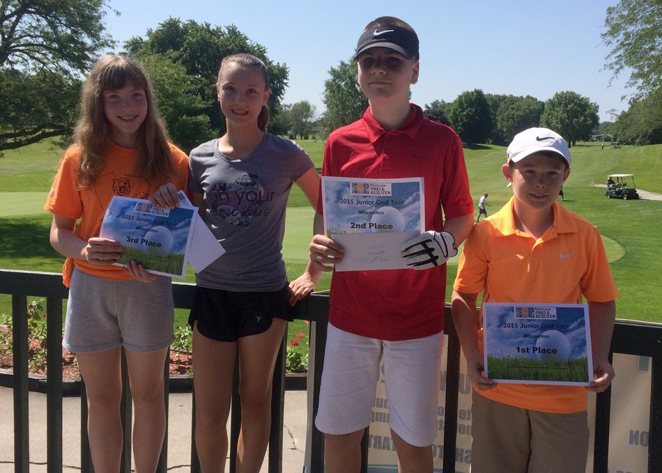 Finishing in the top three of the 10-13 age group of the Junior Tour were, from left, Meghan Leppek, third place; Amanda Leppek, third place; Maksyn Hart, second place; and Brayden Boden, first place.