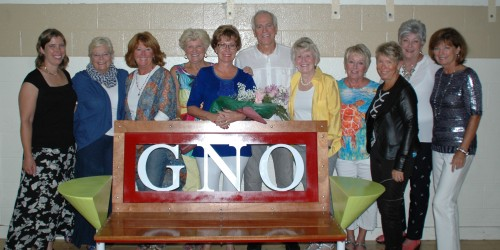 Bob Coon designed this bench to be placed on the trails in honor of GNO, Girls Night Out. From left are Megan McClellan, Patsy Lees, Becky Fox, Susan Todd, Bill Coon, Sally Springer, Sara Stearley, Betsy Roby, Barb Coon, Jan Kendall