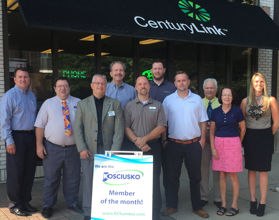 In photo from left, are Mark Dobson, Kosciusko Chamber President and Chief Executive Officer; James Woodcox, Kosciusko Chamber Ambassador; Rob Parker, area sales manager, CenturyLink; Mike Brill, vice president, CenturyLink; Troy Burns, store manager, CenturyLink; Jeff Parcels, retail sales consultant, CenturyLink; Ralph Turner, Kosciusko Chamber Ambassador; Jan Orban, Kosciusko Chamber Ambassador; and Jennifer Pyle, WCDC Main Street Coordinator. (Photo provided)