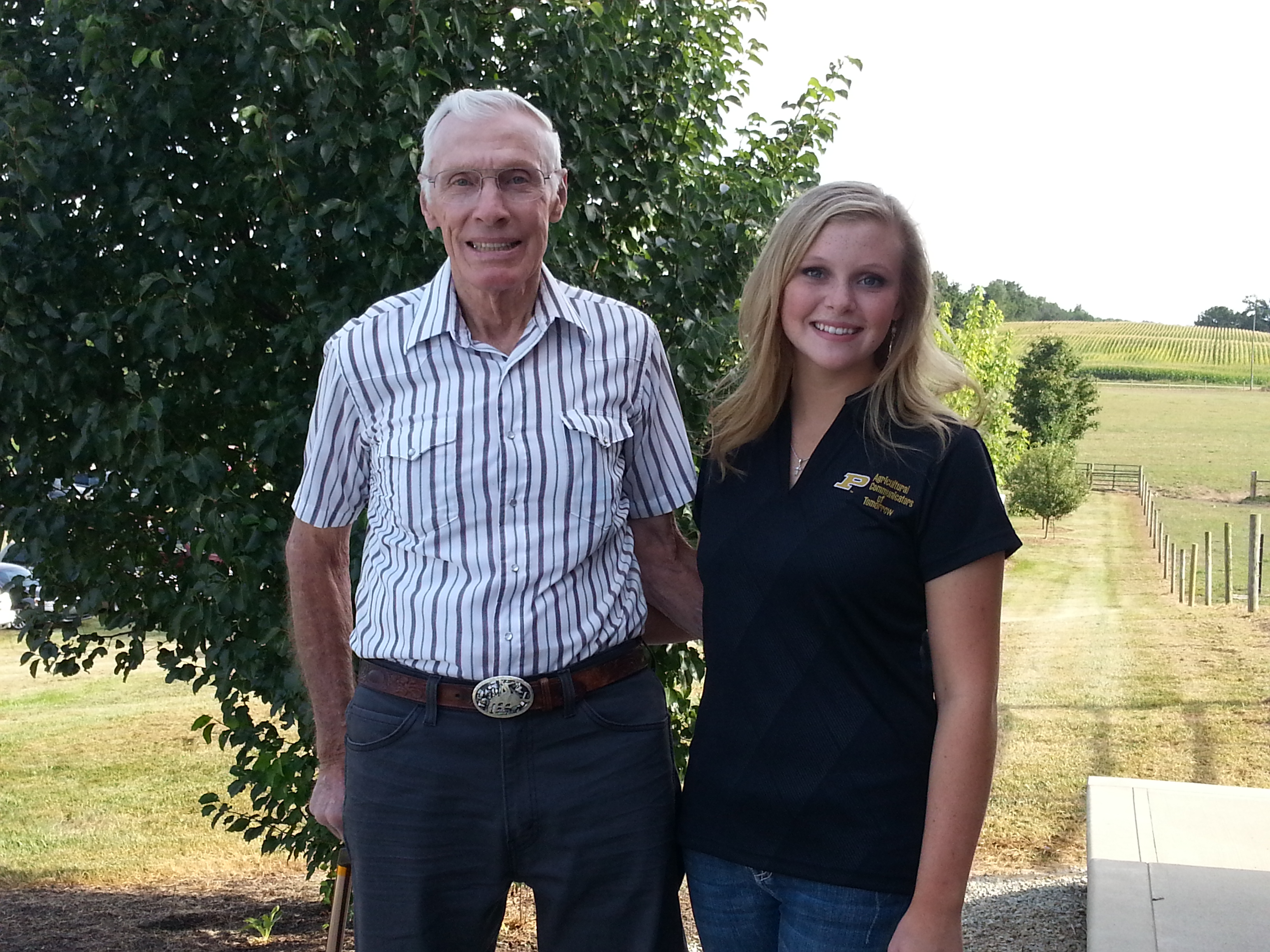 Leon and Hannah Tucker spoke at the annual Beef Twilight Tour at Conley Farms on Saturday, Aug. 22. (Photo by Alyssa Richardson)