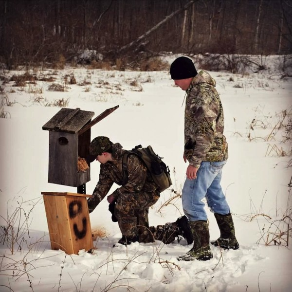 DU members replace an old wood duck box with a newly built one on the property of Tri-County. (Photos Provided)