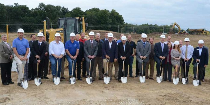 Breaking ground for the new Banner Medical Warsaw facility, shown with shovels, from left are: Cary Groninger, president G & G Hauling and Excavating; Rick Wallen, director of tech services, Bonner Medical; State Rep. Curt Nisley; Dan Robinson, Robinson Construction; Mark Redding, president of Banner Medical; Mayor Joe Thallemer; George Robertson, KEDCo; Rocky Rockwell, general manager of Banner Medical Warsaw; Dan Stoettner, executive vice president and chief operating officer Bannder Medical; Kellie Altruda, Malcom and Associates, architects; Jeremy Skinner, city planner, Charles Smith, president Warsaw Redevelopment Commission.