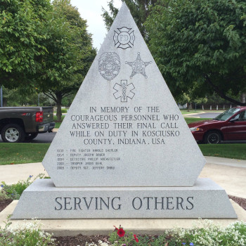 This side of the 9/11 memorial commemorates Kosciusko County EMS officials who have lost their lives in service.