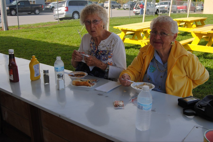 Four different soups, hot dogs, hamburgers and pop will be for sale at the festival. Donna Lambert, left, and Katherine Ogden sample the soup in 2014. Keepsake ceramic soup bowls will also be available to purchase.