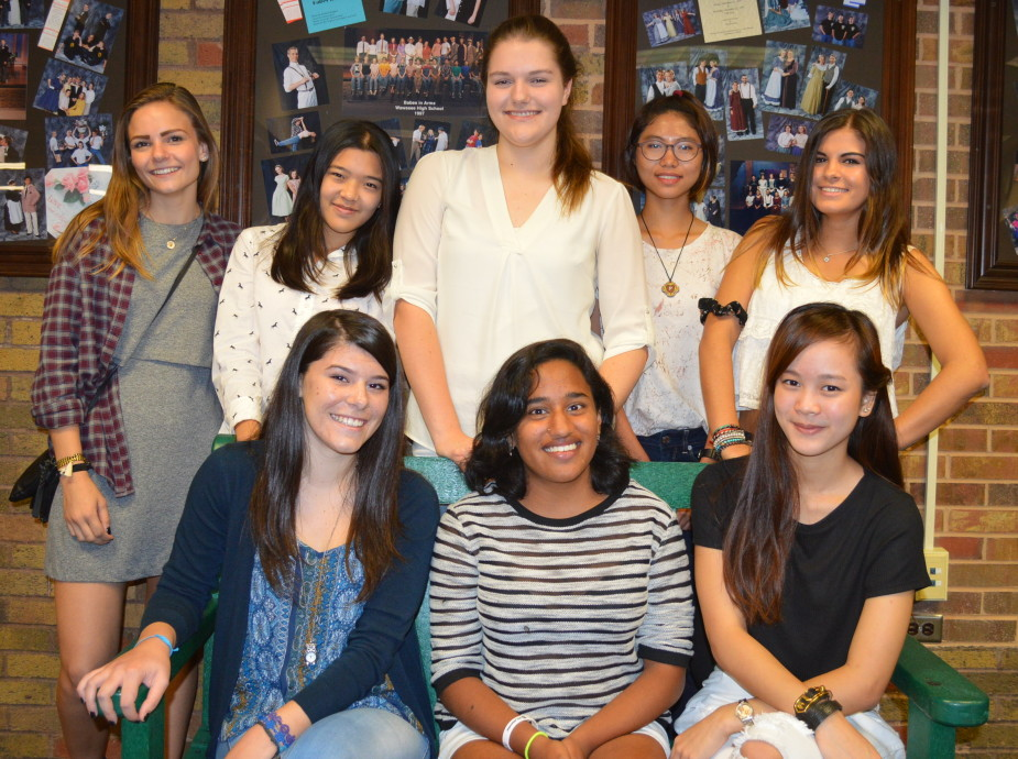 Foreign exchange students attending Wawasee High School during the 2015-16 academic year include, in front from left, Francesca Soru (Italy), Dikshita Gonzalez-Gomez (Spain) and Charanyapak Supatanavanichakul (Thailand). In the back row are Cecilie Rose (Denmark), Porpim Jindasakchal (Thailand), Mandy Tennert (Germany), Phuong Nguyen (Vietnam) and Patricia Morenilla-Perez (Spain).