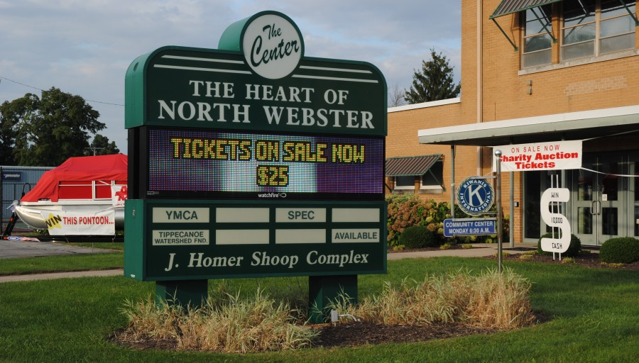 North Webster Community Center Heart of the Community Charity Auction is coming Oct. 3 at the center, 301 N. Main St. (SR 13). Winner of the big raffle can choose between a car, a pontoon, a UTV or $10,000. Some of the prizes are displayed in front of the center.