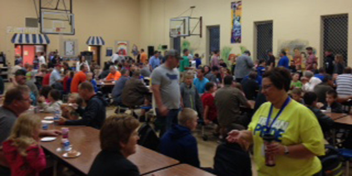 """Over 100 fathers were present for """"Donuts with Dad."""""""