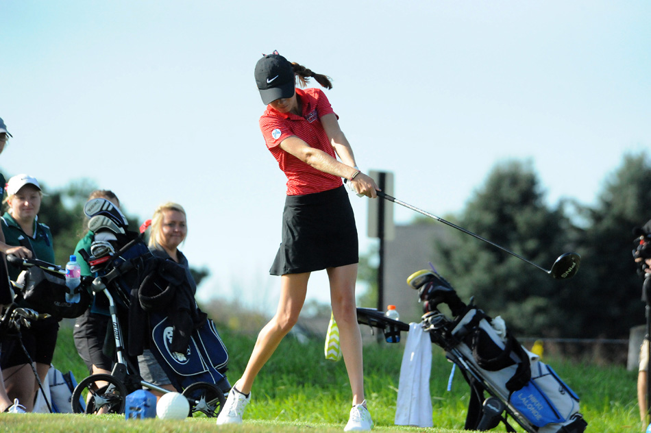 Grace College's Lauren Keiser opens the first-ever Lady Lancer Invite with a tee on No. 1 at Stonehenge Golf Club Tuesday morning. (Photos by Mike Deak)