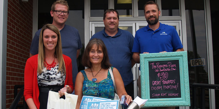 From left, front row: Jen Pyle, Kosciusko Chamber of Commerce and Warsaw Community Development Corporation; Gail Jacobs. Back row: Jason Brown, ONE TEN Craft Meatery; Jim Thompson, Mad Anthony's Lake City Tap House; and Will Dawson, Wagon Wheel Center for the Arts.