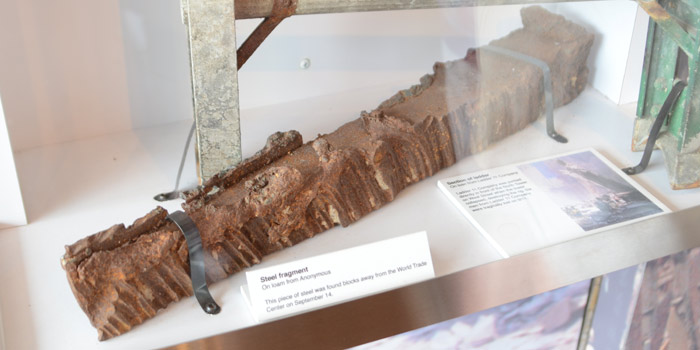 A steel fragment found on Sept. 14, blocks away from the World Trade Center.