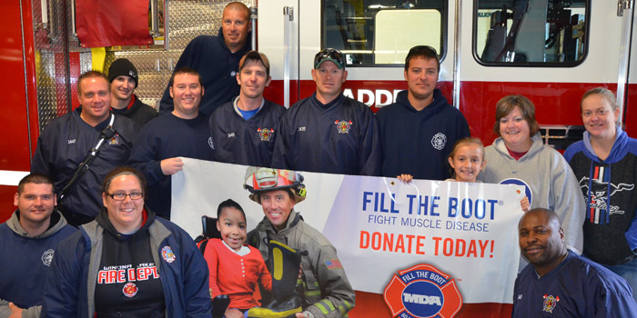 Winona Lake volunteer firefighters took their fight to the streets of the community to help rally for a great cause -- the Muscular Dystrophy Association.  (Photo by Alyssa Richardson)