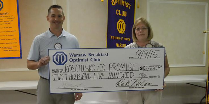 From left: Chad Zaucha, the Kosciusko County Promise fund; and Jennifer Lucht, The Warsaw Breakfast Optimist Club.