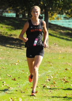Warsaw's Allison Miller was in vintage form Saturday, winning the girls race at the Culver Academy Sectional. (Photo by Mike Deak)