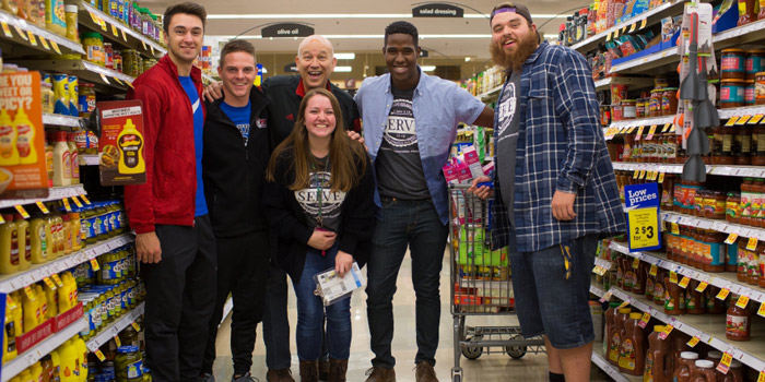 Grace College students with President Katip at Supermarket Sweep 2015. Pictured left to right are Tyler Rothhaar, Evan Kilgore, Dr. Bill Katip, Elizabeth Manko, Tyler Tillett and Jonah Stouffer.