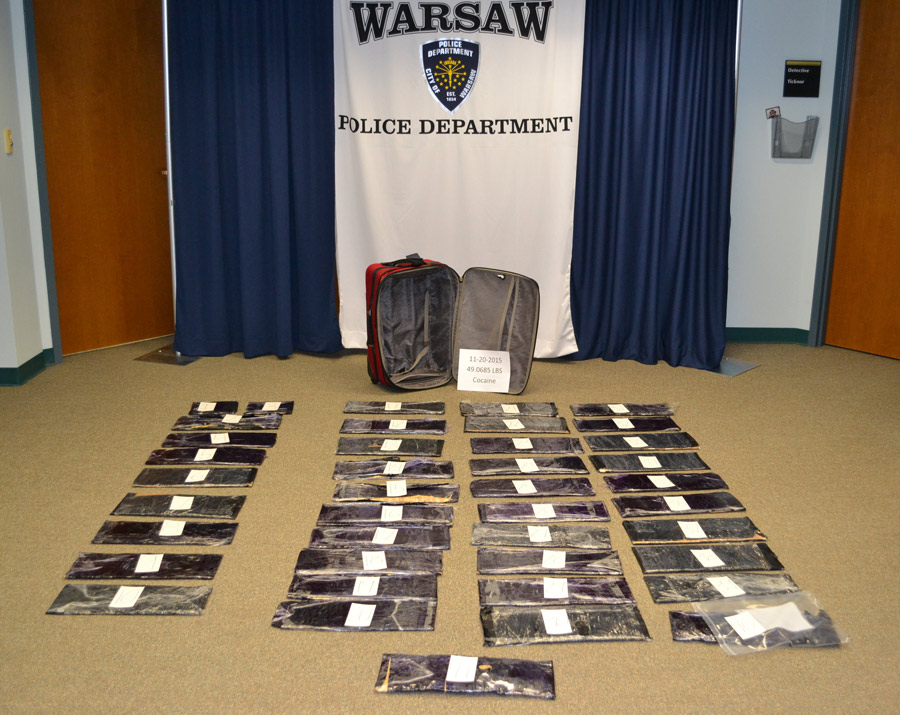 Police locate 49 pounds of cocaine in a suitcase