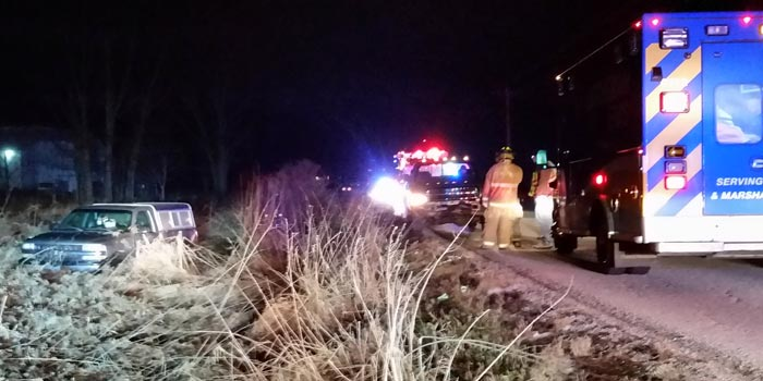 Crews respond to an accident on CR 250N, north of Warsaw. (Photo by Amanda McFarland)