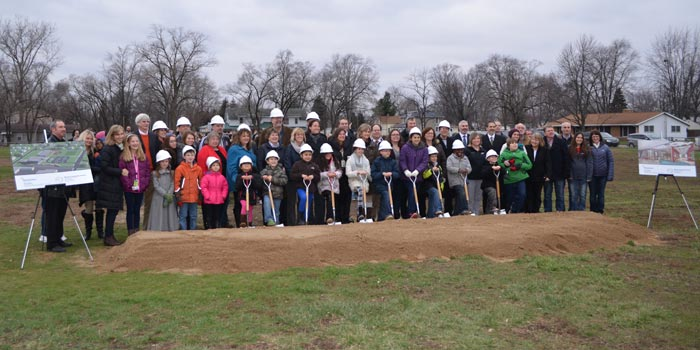 Lincoln Elementary students and Warsaw Community School board members gathered Thursday afternoon, Dec. 17, for a groundbreaking ceremony that will usher in the building of a new Lincoln Elementary School building. (Photos by Amanda McFarland)