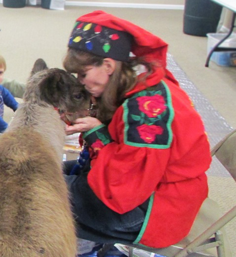 Angie the elf give Yukon the reindeer a kiss on the nose at Milford Public Library reindeer program on December 17. All 75 people attending the program enjoyed meeting Yukon and Angie.
