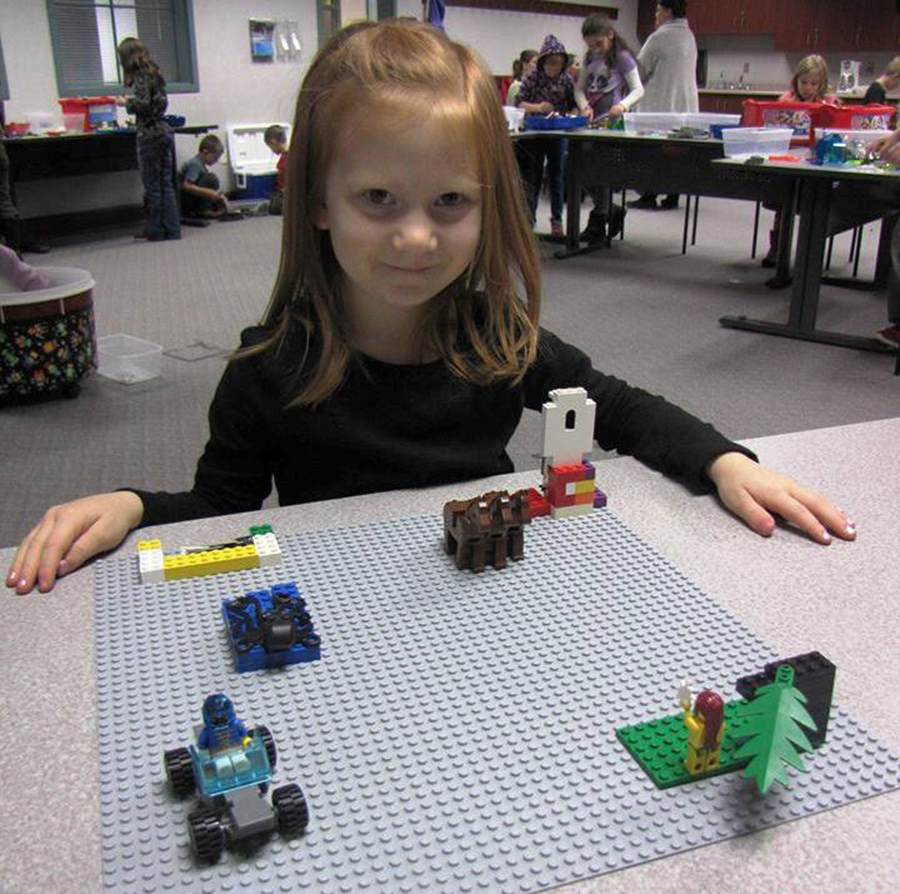All homeschooling families are invited to attend the Homeschool Lego Club at 1 p.m. Wednesday, Jan. 6 at 1:00 pm. Pictured is Essalie Halas.