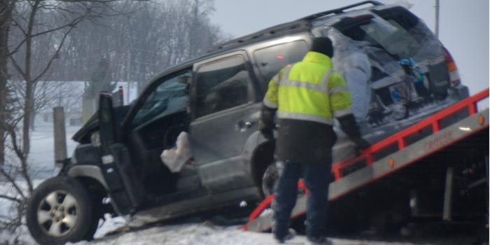 Crews responded to a one-vehicle accident on CR 400N. (Photo by Michelle Reed)