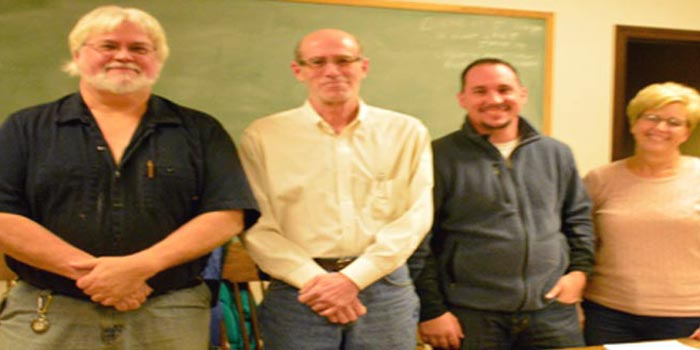 Etna Green Town Council from left, are; Vice-President Keith Claassen, President Todd Slabaugh, council member Kevin Smith and clerk/treasurer Laura Baker (Photo by Michelle Reed)