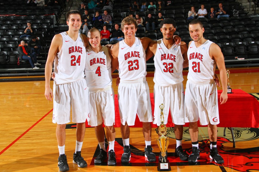 The Grace College men's basketball team is having a stellar season thanks in large part to its senior class. The group (left to right above) includes Kyle Fillman, Logan Irwin, Caleb Featherstone, Brandon Vanderhegghen and Drew Perrin (Photos provided by the Grace College Sports Information Department)
