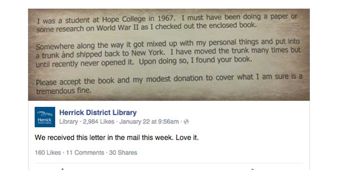 The librarians posted the man's note on Facebook