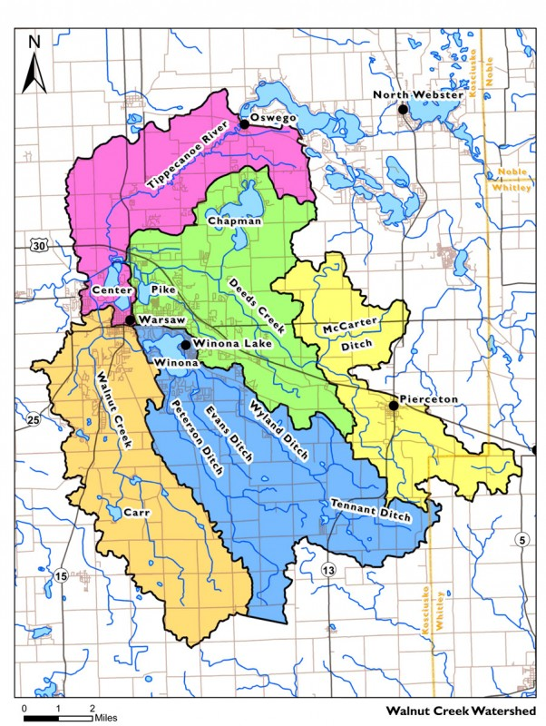 A map showing the Walnut Creek Watershed, the area the Clean Water Project is working toward creating a water quality improvement plan.