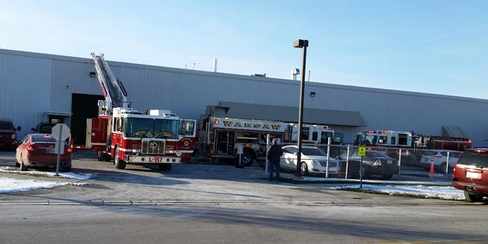Crews respond to a fire at Zimmer Plant 5, believed to be caused by a machine. (Photo by Amanda McFarland)