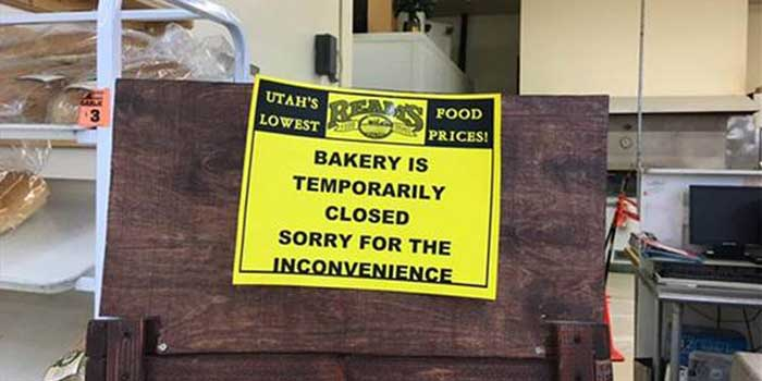 The sign declaring the bakery closed after a terrible accident