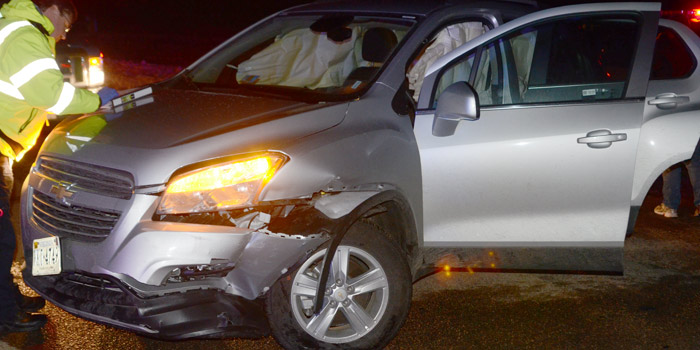 This Chevrolet mini man collided with a Dodge mini van. (Photos by Deb Patterson)